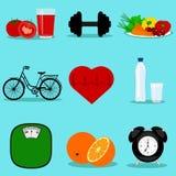 Estilo de vida saudável coleção Símbolo ilustração stock