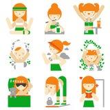 Estilo de vida saudável e ícones lisos do bem-estar Fotografia de Stock Royalty Free