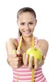 Estilo de vida saudável - maçã de mão da mulher da aptidão fotos de stock