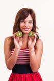 Estilo de vida saudável - retrato da mulher bonita nova com dois h Fotografia de Stock Royalty Free