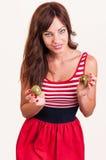 Estilo de vida saudável - retrato da mulher bonita nova com dois h Imagem de Stock