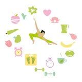 Estilo de vida saudável - vetor ajustado ícones Fotografia de Stock