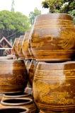 Estilo de vida tailandês dos vasos grandes do dragão Fotografia de Stock Royalty Free