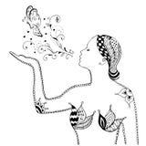 Estilo de Zentangle, remolino, mariposa que sopla de la muchacha, flores, vector, Imagen de archivo