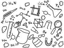 estilo del arte de la educación del garabato del químico de la química con las herramientas ilustración del vector