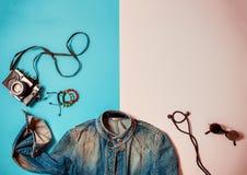 Estilo del arte pop de la moda y del viaje plano Foto de archivo libre de regalías
