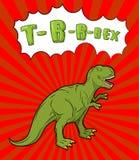 Estilo del arte pop del tiranosaurio Reptil prehistórico enojado stock de ilustración