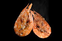 Estilo del Bbq del camarón de la parrilla Imagen de archivo