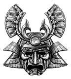 Estilo del bloque de madera de la máscara del samurai Imágenes de archivo libres de regalías