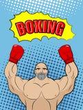 Estilo del campeón del boxeo del arte pop con la caja de la charla Atleta r Imagenes de archivo