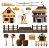 Estilo del campo de edificios y de otros objetos ilustración del vector