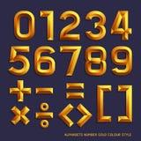Estilo del color del oro del número del alfabeto Fotos de archivo libres de regalías