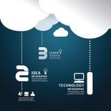 Estilo del corte del papel de la nube de la tecnología de Infographic. Imagen de archivo