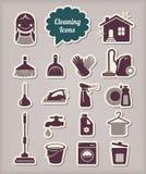 Estilo del corte del papel de los iconos de la limpieza Imagenes de archivo