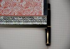 Estilo del cuaderno y de la pluma Fotografía de archivo