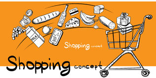Estilo del dibujo de la mano del concepto de las compras Foto de archivo
