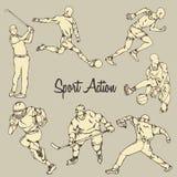 Estilo del dibujo del vintage de la acción del deporte Imagenes de archivo