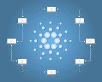 Estilo del fondo de la conexión del blockchain de Cardano Foto de archivo libre de regalías