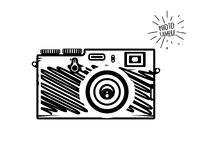 Estilo del garabato de la cámara de la foto del vintage ilustración del vector