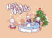 Estilo del garabato de la tarjeta de la familia de los conejitos de la torta de la cena de la Navidad ilustración del vector