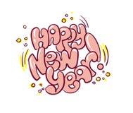 Estilo del garabato de la tarjeta de la pintada de la burbuja de la Feliz Año Nuevo libre illustration