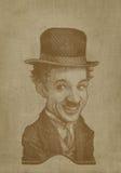 Estilo del grabado de la caricatura de la sepia de Charlie Chaplin Fotos de archivo
