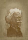 Estilo del grabado del retrato de la sepia de Mark Twain Fotos de archivo