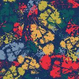 Estilo del Grunge del ornamento de Autumn Seamless Pattern Background Leaves Imagen de archivo