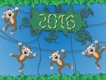 estilo del mono de la Feliz Año Nuevo 2016 Imagen de archivo libre de regalías