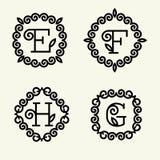 Estilo del monograma linear con las letras e, f, h, g Fotos de archivo