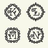 Estilo del monograma linear con las letras k, l, m, n Imágenes de archivo libres de regalías