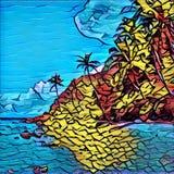 Estilo del mosaico, pintada o imagen del vitral de la isla tropical Paisaje exótico de la naturaleza stock de ilustración