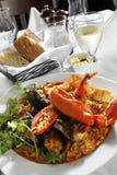 Estilo del paella del arroz de los mariscos Imagen de archivo