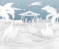 Estilo del papel de la escena de la Navidad de la natividad ilustración del vector
