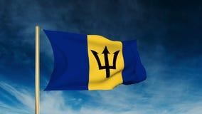 Estilo del resbalador de la bandera de Barbados El agitar en el triunfo con stock de ilustración