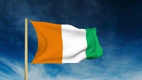 Estilo del resbalador de la bandera de Costa de Marfil El agitar en el viento stock de ilustración