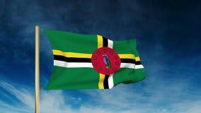 Estilo del resbalador de la bandera de Dominica El agitar en el triunfo con ilustración del vector