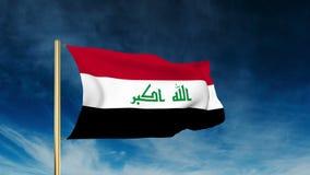 Estilo del resbalador de la bandera de Iraq El agitar en el triunfo con ilustración del vector