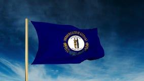 Estilo del resbalador de la bandera de Kentucky El agitar en el triunfo con stock de ilustración
