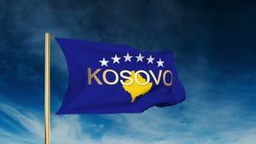 Estilo del resbalador de la bandera de Kosovo con título El agitar en stock de ilustración
