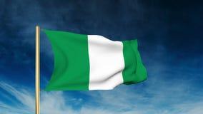 Estilo del resbalador de la bandera de Nigeria El agitar en el viento con stock de ilustración