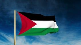 Estilo del resbalador de la bandera de Palestina El agitar en el triunfo stock de ilustración