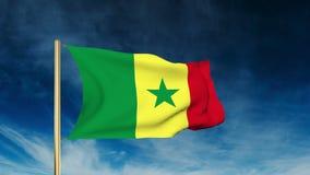 Estilo del resbalador de la bandera de Senegal El agitar en el viento con stock de ilustración