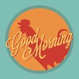 Estilo del vintage de la buena mañana del gallo y del sol Imagen de archivo libre de regalías