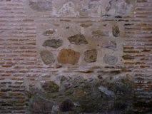 Estilo del vintage de la pared de piedra vieja y del ladrillo rojo, para el fondo de sus fotos foto de archivo