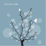 Estilo del vintage del árbol del invierno Fotos de archivo libres de regalías
