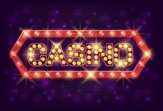 Estilo del vintage del cartel del casino Bandera del casino con las lámparas que brillan intensamente para el casino en línea, pó Foto de archivo