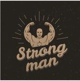 Estilo del vintage del cartel del hombre fuerte Foto de archivo
