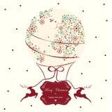 Estilo del vintage del globo de la tarjeta de Navidad Imagen de archivo