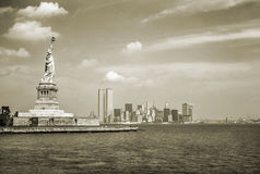 Estilo del vintage del horizonte de NYC Imagenes de archivo